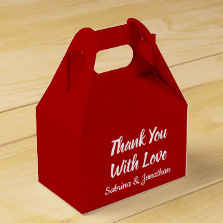 Red Burgundy & White Thank You Wedding Party Favour Box