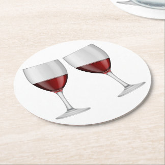 Red Burgundy Wine Champagne Glasses Wedding Party Round Paper Coaster