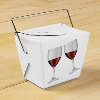 Red Burgundy Wine Glasses Wedding Party Favour Box