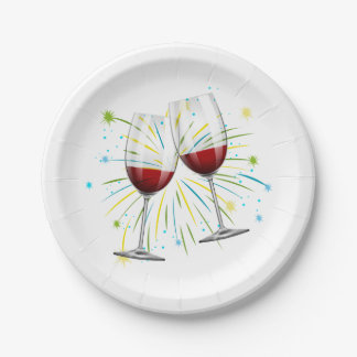 Red Burgundy Wine Glasses Wedding Winery Vineyard Paper Plate