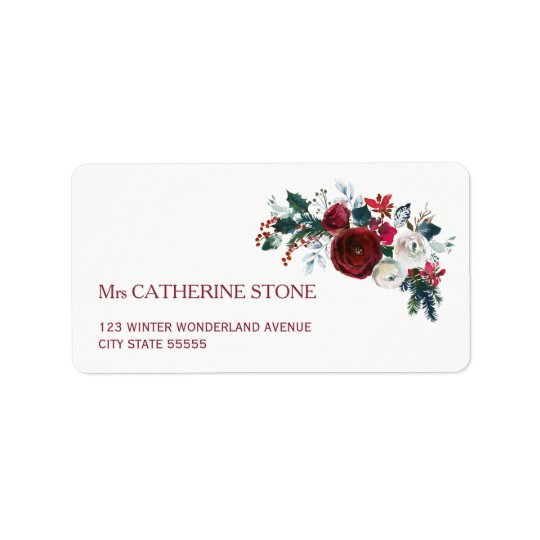 Red burgundy winter peony flowers elegant address label