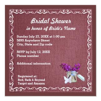 Red Burlap, Purple Flowers, Jar Bridal Shower Inv 13 Cm X 13 Cm Square Invitation Card