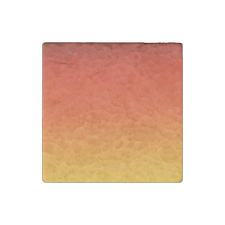 Red Burnt Orange to Gold Ombre Crackle Pattern Stone Magnet