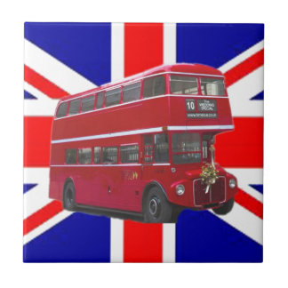 Red Bus and  Union Jack Flag Tile