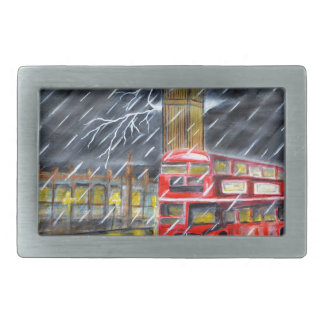 Red Bus in London night rain Belt Buckles