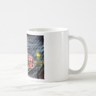 Red Bus in London night rain Coffee Mug