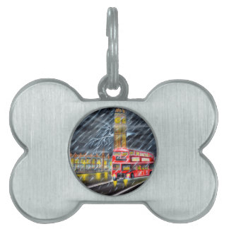 Red Bus in London night rain Pet Name Tags