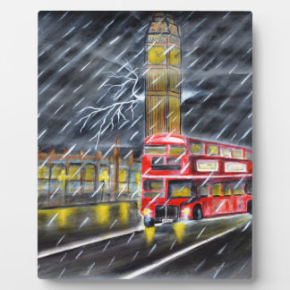Red Bus in London night rain Plaque
