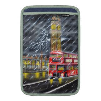Red Bus in London night rain Sleeves For MacBook Air