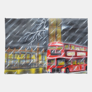 Red Bus in London night rain Tea Towel