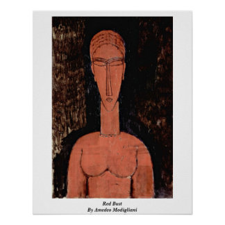 Red Bust By Amedeo Modigliani Poster