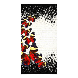 Red butterflies on black lace photo card template