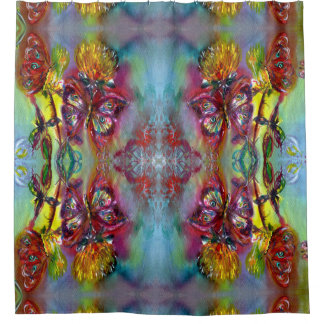 RED BUTTERFLIES ON YELLOW THISTLES,BLUE SKY Floral Shower Curtain