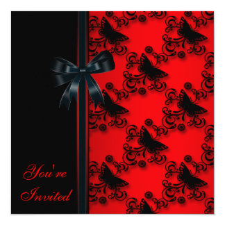 Red Butterfly Black Party invitation Template
