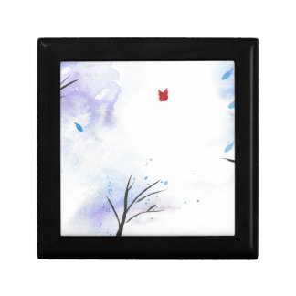 Red Butterfly Blue Forest Gift Box