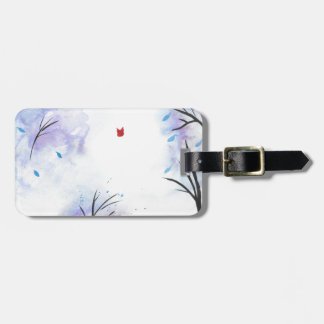 Red Butterfly Blue Forest Luggage Tag