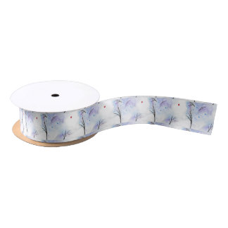 Red Butterfly Blue Forest Satin Ribbon
