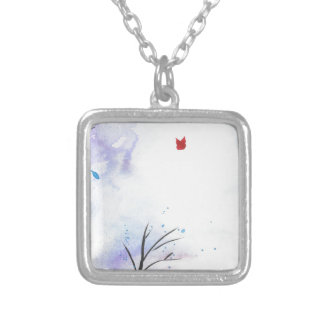 Red Butterfly Blue Forest Silver Plated Necklace