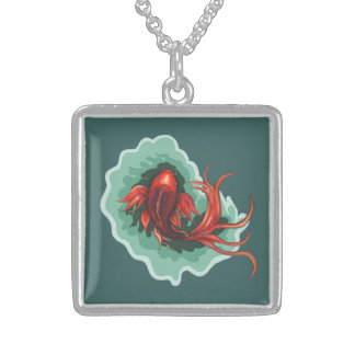 Red Butterfly Koi Fish Sterling Silver Necklace