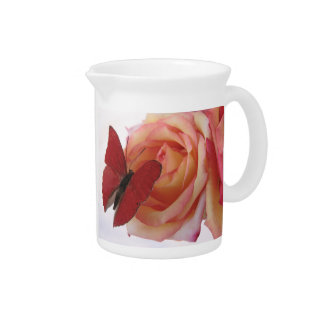 red butterfly on pink rose pitcher