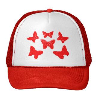 Red Butterfly Pattern Trucker Hat