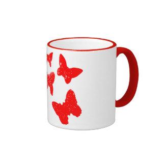 Red Butterfly Pattern Coffee Mug