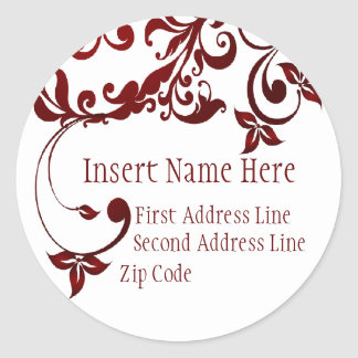 Red Butterfly Return Address Round Stickers