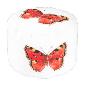 Red Butterfly Sturdy Spun Polyester Round Pouf