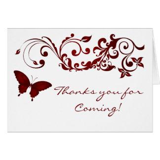 Red Butterfly, Thanks you Card for Weddings
