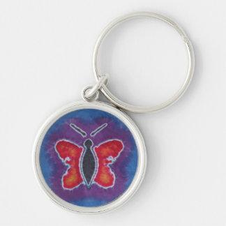 Red Butterfly Tie Dye Key Chain