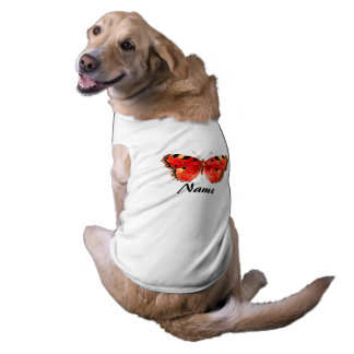 Red butterfly Watercolor Doggie Ribbed Tank Top Sleeveless Dog Shirt