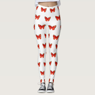 Red Butterfly Watercolor Leggings