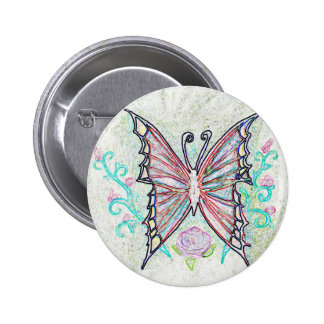 Red Butterfly Web 6 Cm Round Badge