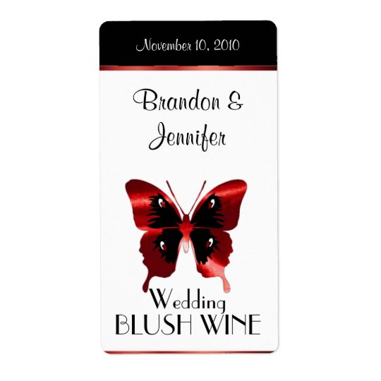 Red Butterfly Wedding Mini Wine Labels