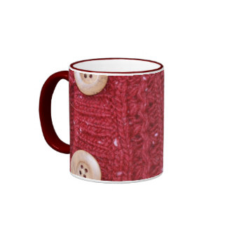 Red Cable Knit and Two Buttons Mugs