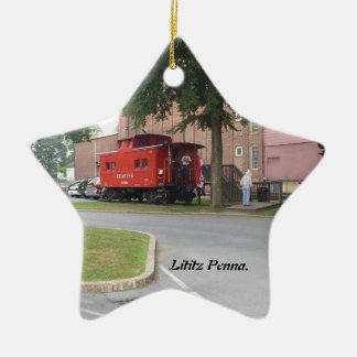 Red Caboose in Litiz Penna Christmas Ornament