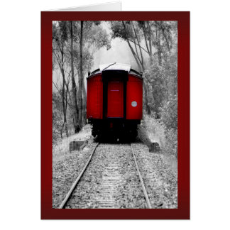 Red Caboose Victorian Steam Train Greeting Card