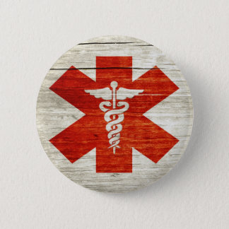 Red caduceus medical symbol 6 cm round badge