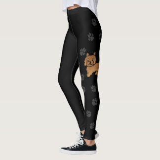 Red Cairn Terrier Cartoon Dog With Paws Black Leggings