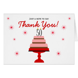 Red Cake 50th Birthday Thank You Note Card