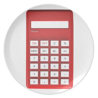 Red calculator calculator plate