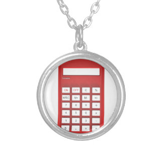 Red calculator calculator silver plated necklace
