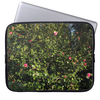 Red Camellia Bush Laptop Computer Sleeves
