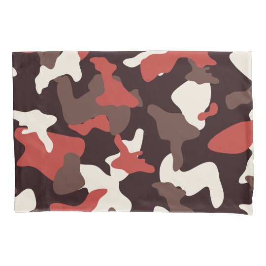 Red camo camouflage army pattern pillowcase