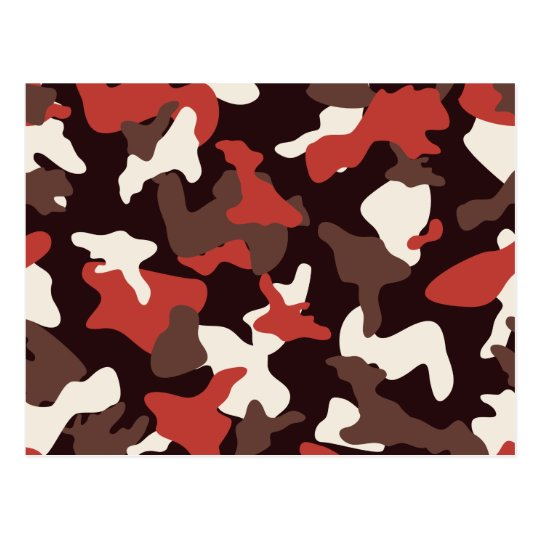 Red camo camouflage army pattern postcard