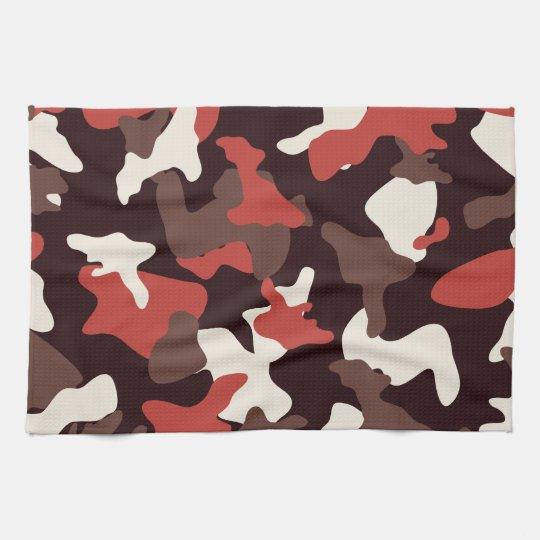 Red camo camouflage army pattern tea towel