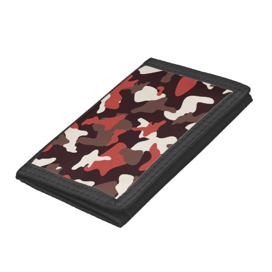 Red camo camouflage army pattern tri-fold wallets