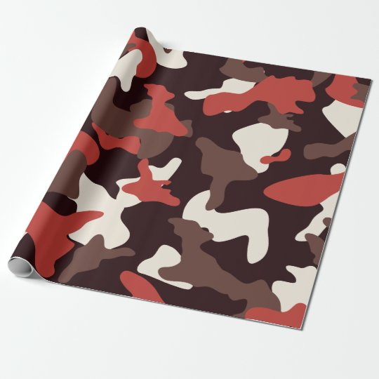 Red camo camouflage army pattern wrapping paper