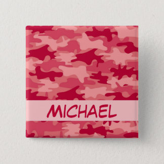 Red Camo Camouflage Name Personalized 15 Cm Square Badge