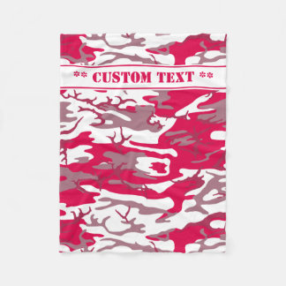 Red Camo w/ Custom Text Fleece Blanket